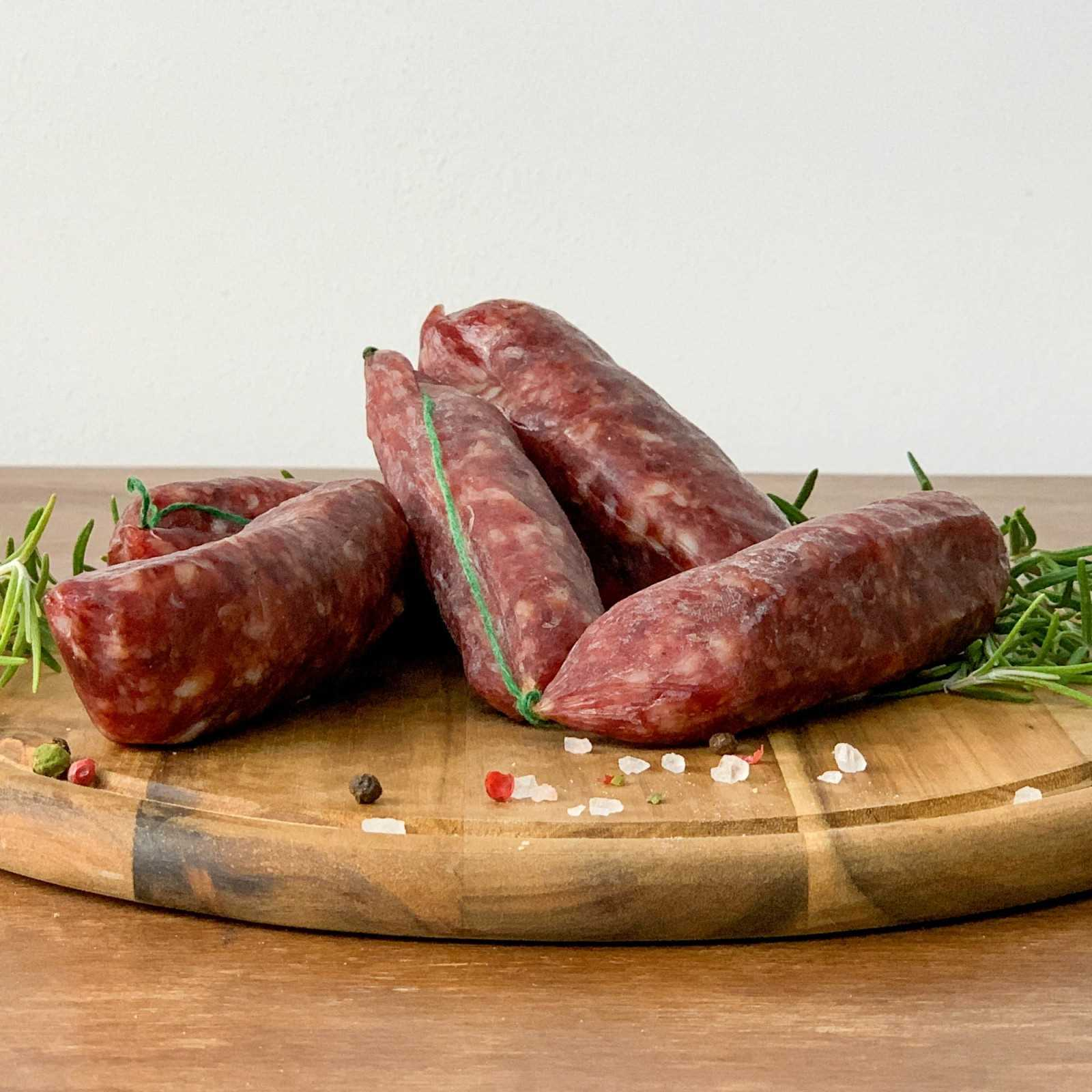 Cured Cinta Senese PDO Pork Sausage.