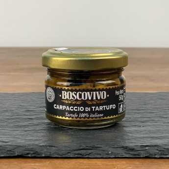 <h5>Schwarze Sommertrüffel-Carpaccio - Tuber Aestivum Vitt. - 100% Italienisch.</h5>