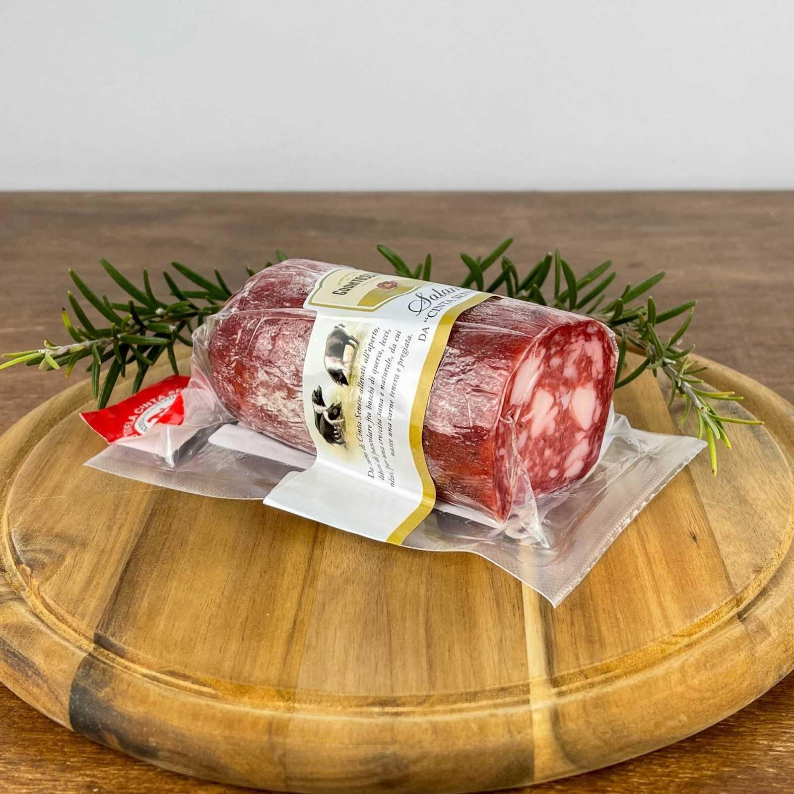 Salami aus der Schweinerasse Cinta Senese G.U., mit erstklassigem Fleisch hergestellt.