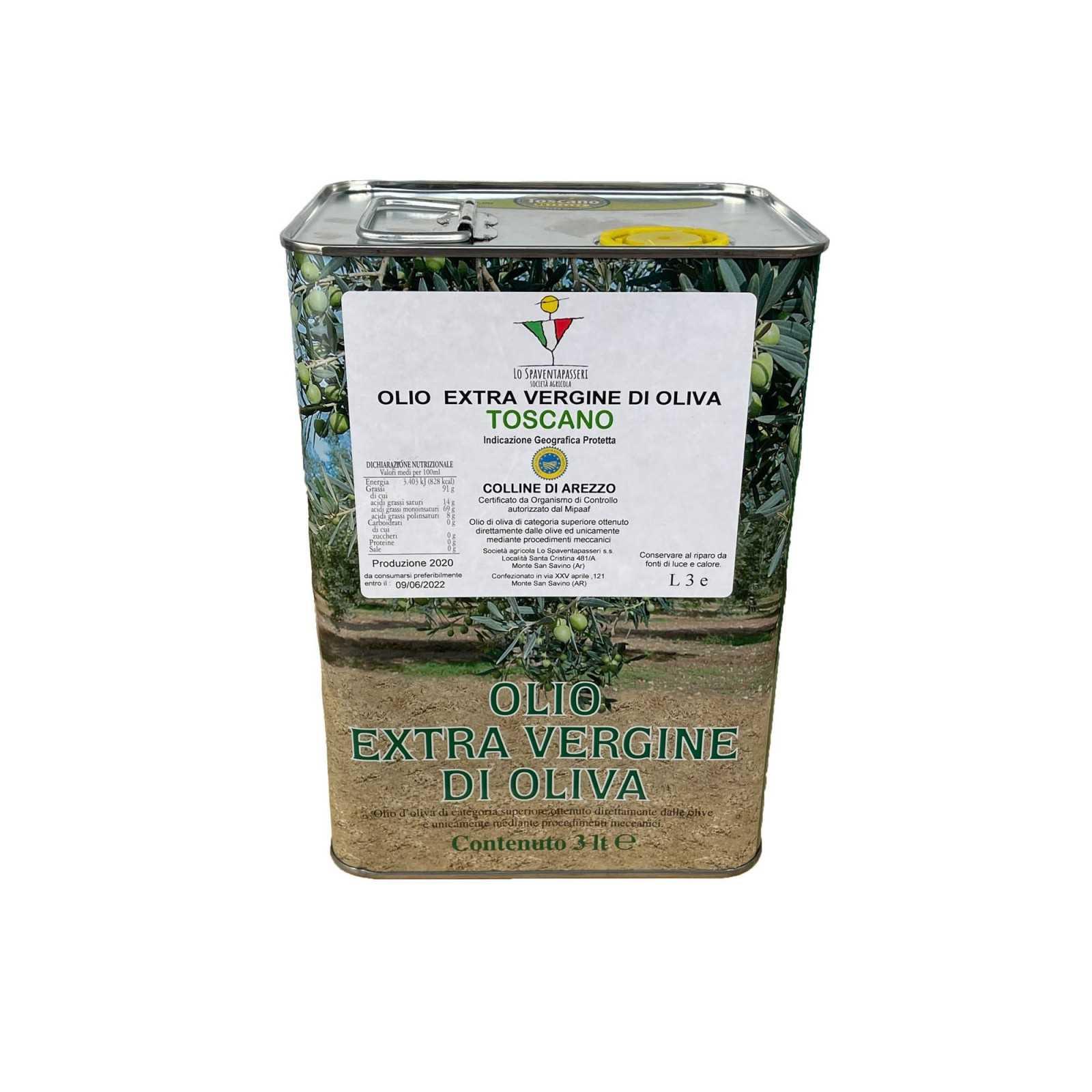 """""""Lo Spaventapasseri"""", toskanisches Olivenöl extra vergine, handgefertigt, mit Kaltextraktionsverfahren, aus Oliven von Hügeln in der Nähe von Arezzo - Produktionsjahr 2020/2021."""