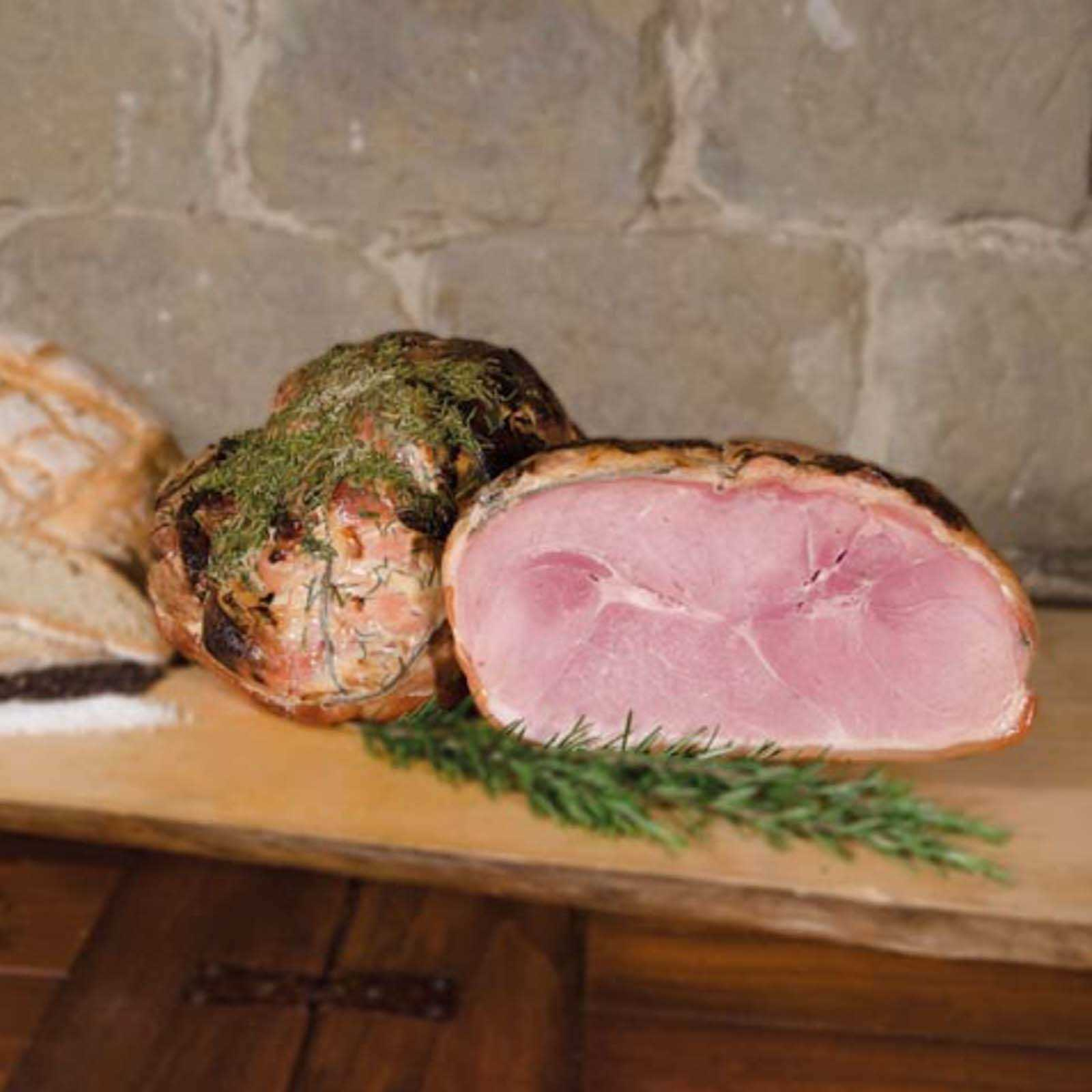 Cooked Ham With Rosemary.