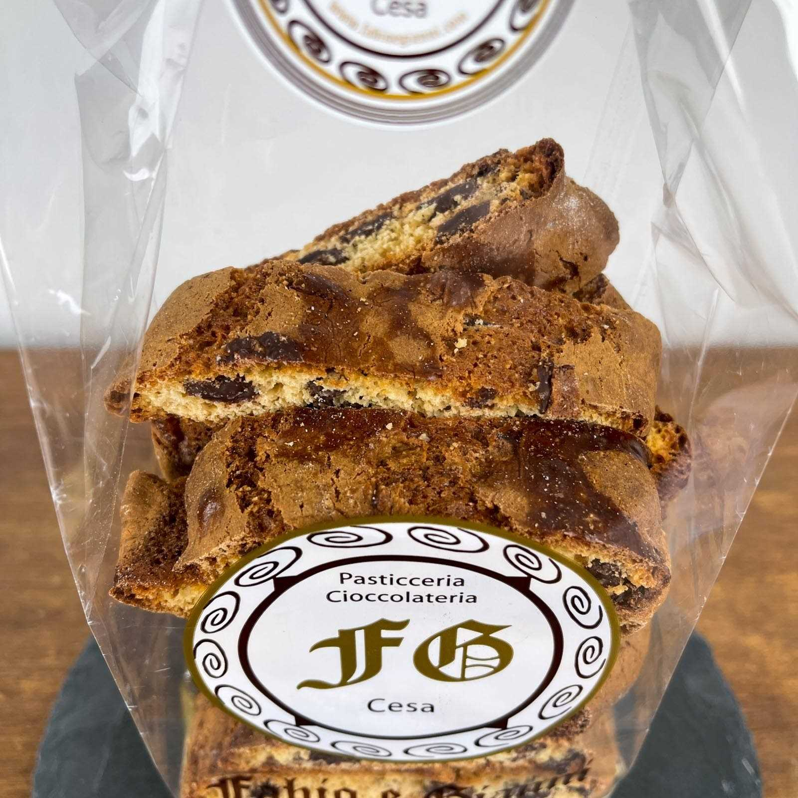 """Classic chocolate """"cantucci"""", the typical Tuscan dessert, revisited with the addition of chocolate."""