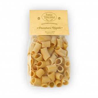 """""""Paccheri Rigati"""", artisanal pasta, made with durum wheat semolina, slowly drying bronze drawn."""