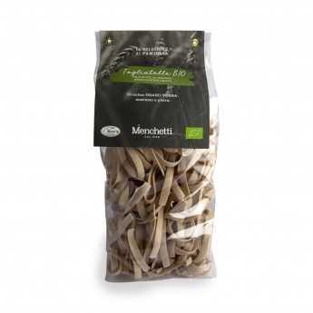 "Organic bronze drawn ""Tagliatelle"", slow drying. Organic stone-ground Verna soft wheat pasta with high fiber content."