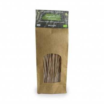 "Organic bronze drawn ""Spaghetti"", slow drying. Organic stone-ground Verna soft wheat pasta with high fiber content."