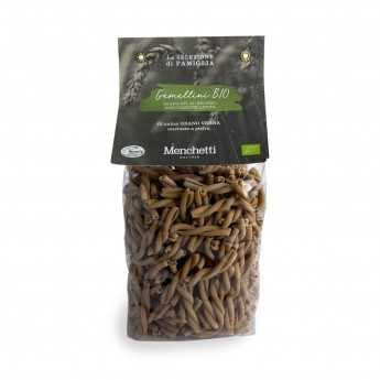 "Organic bronze drawn ""Gemellini"", slow drying. Organic stone-ground Verna soft wheat pasta with high fiber content."