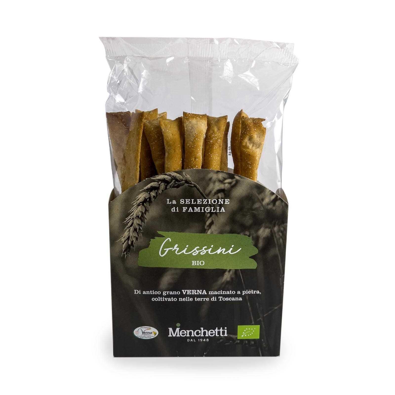 Toskanische Grissini mit Weichweizenmehl Typ 1 - Verna-Sorte, in der Toskana angebaut, geerntet und gemahlen - Stein gemahlen mit nativem Olivenöl extra (5%).