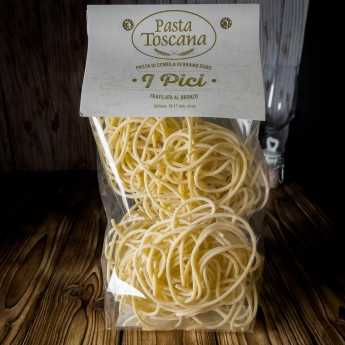 """Pici"", artisanal pasta, typical Tuscan, made with durum wheat semolina, slowly drying bronze drawn."